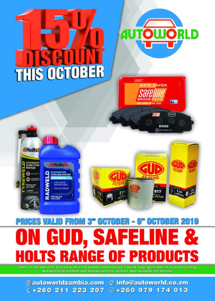 15% off GUD filters, Safeline brake pads and Holts products