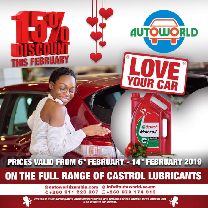 Love your car with 15% off lubricants