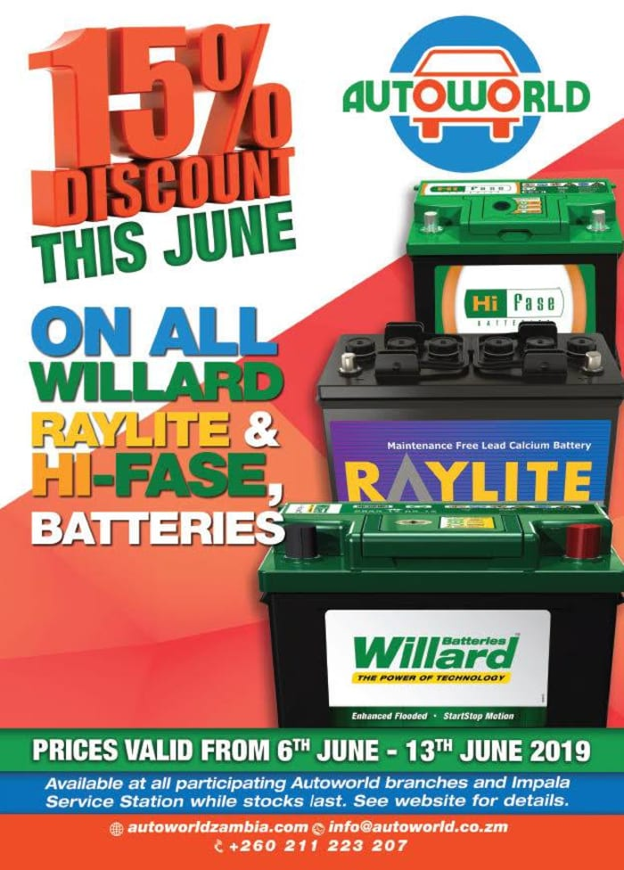 15% discount on all Willard, Raylite and Hi-fase batteries!