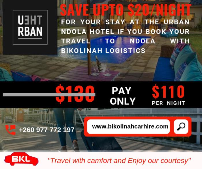 Save $20 per night at Urban Ndola Hotel