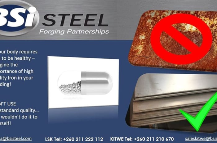 BSi Steel Zambia produces safe high quality products