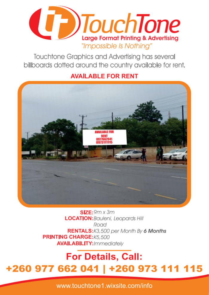 Billboard available for rent in Bauleni