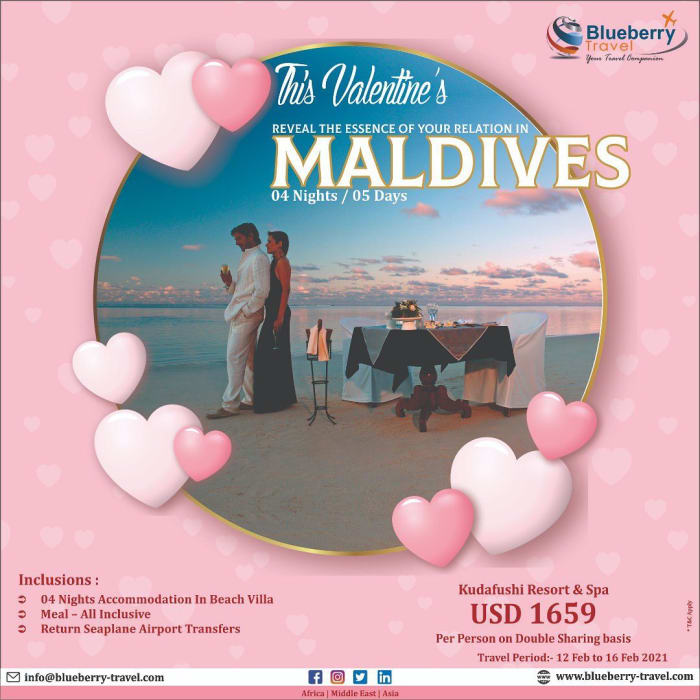 This Valentines reveal the essence of your relation in Maldives 4 nights/5 days