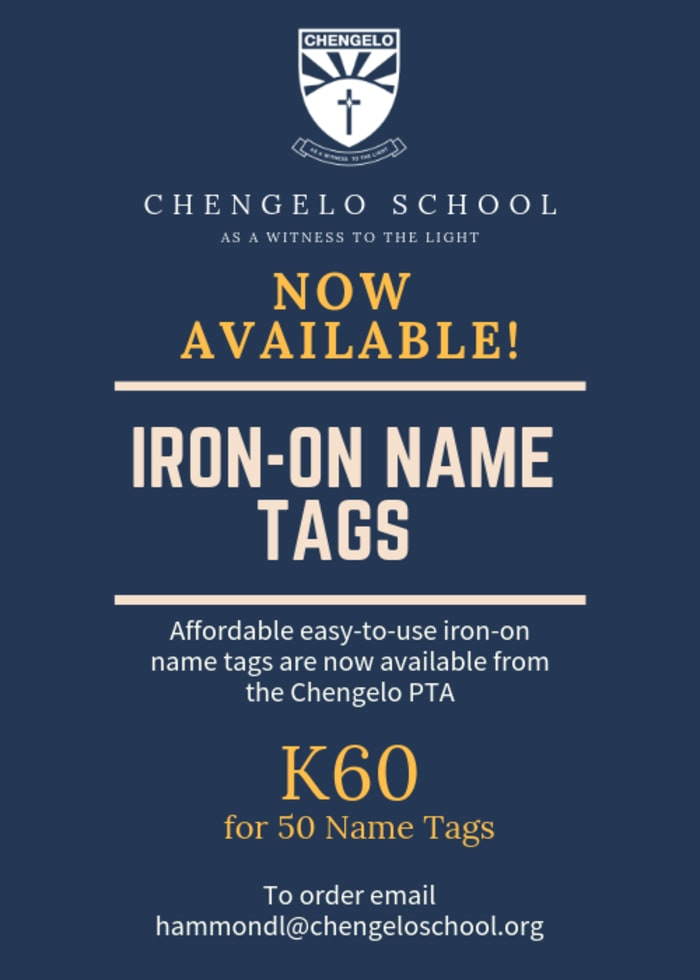 Iron - on name tags now available