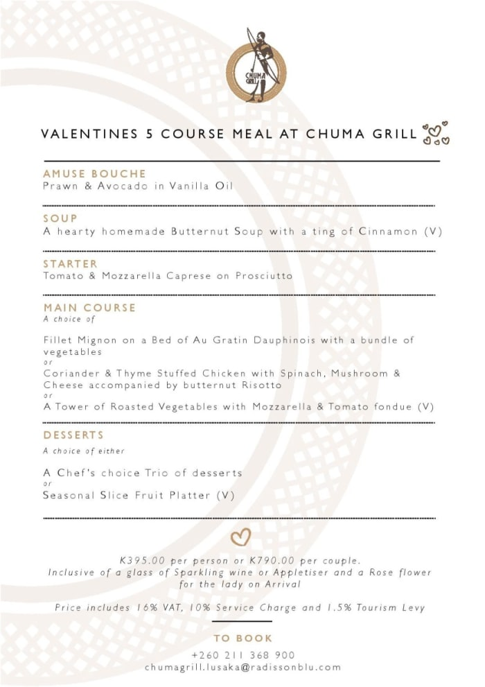 5 course Valentine's meal, K790 per couple