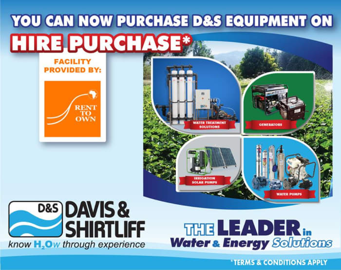 You can now purchase Davis and Shirtliff equipment on hire purchase
