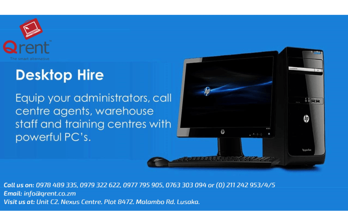 Desktop hire - equip your administrators, call center agents or training centers with powerful PC'S costs