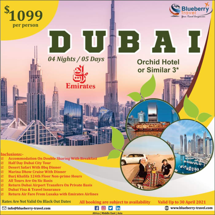 Great deal from Lusaka and Ndola to Dubai