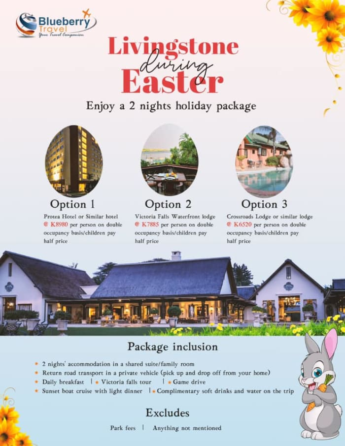 Enjoy 2 night holiday in Livingstine during Easter