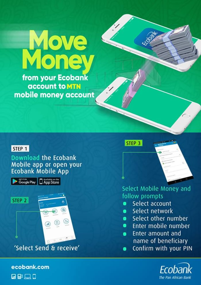Move money from your Eco bank account to any MTN Mobile Money account