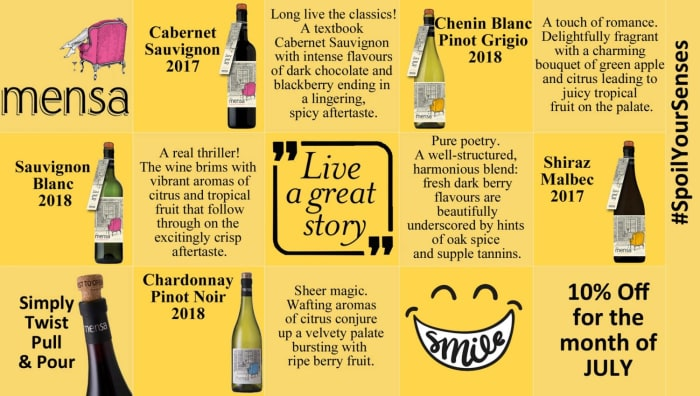 10% for the month of July on Mensa wines
