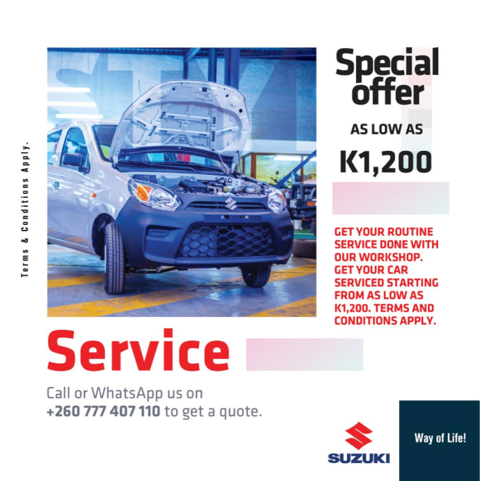 Special offer on car servicing as low as K1,200