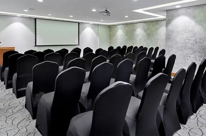 A conference venue with modern equipment
