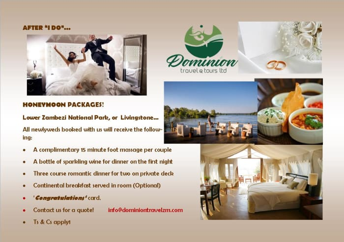 Honeymoon packages : Lower Zambezi National Park or Livingstone