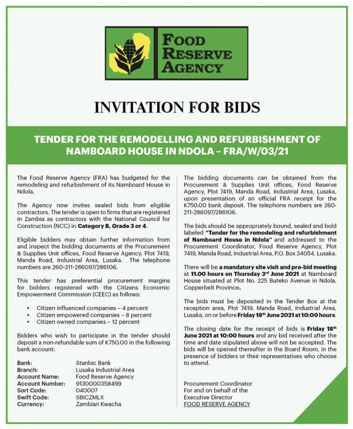 Tender for the remodelling and refurshibishment of Namboard House in Ndola - FRA/W/03/21