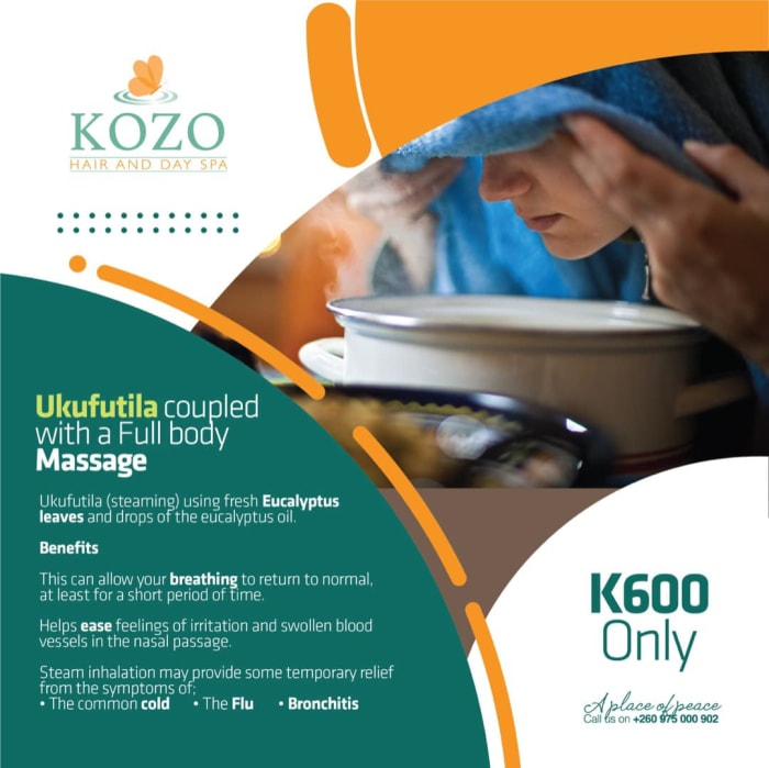 Come through to kozo and enjoy a full body massage coupled with a full steaming session