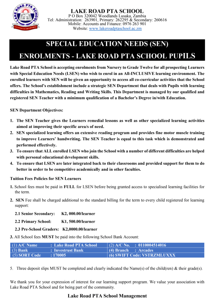 Enrollments now open - Learners with Special Education Needs