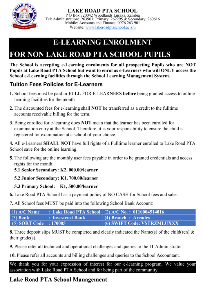 E - Learning enrollment for non Lake Road PTA School Pupils now available