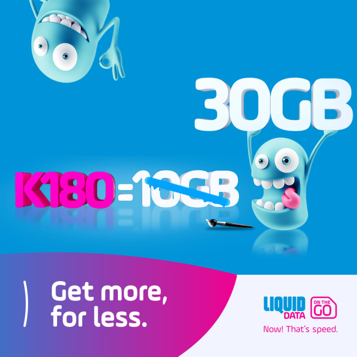 Top-up your Liquid data account with 30GB promotional bundle for only K180