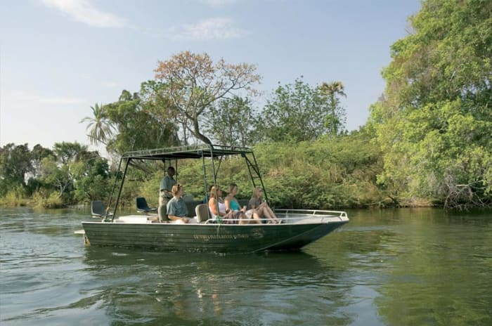 Water taxi - a thrilling 10 minute ride to the Royal Livingstone's Sun Deck