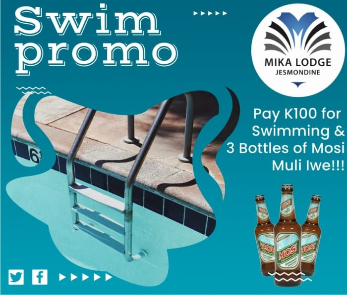 Pay K100 for swimming and get complimentary drink(s)