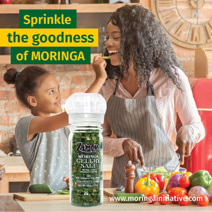 Add some goodness and flavour to your cooking with Moringa Celery Salt from Zamor Products.