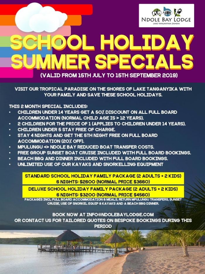 School Holiday Summer Specials for 2019 out now!