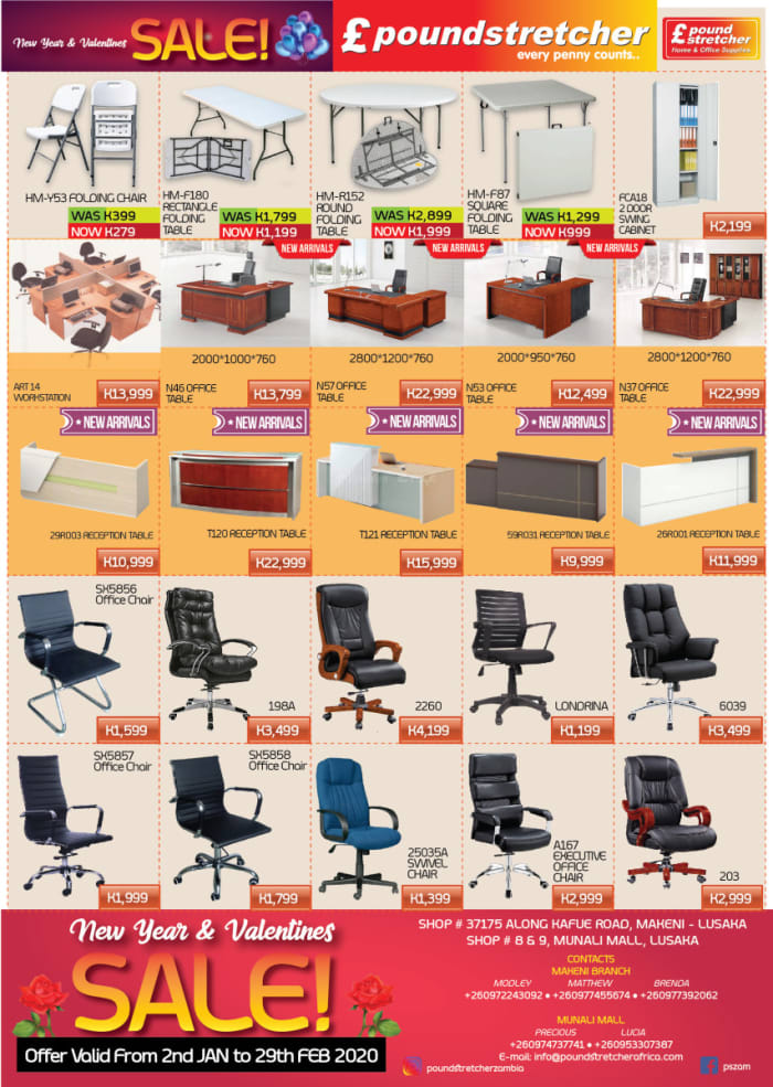 Big saving at Poundstretcher Zambia Ltd on office furniture