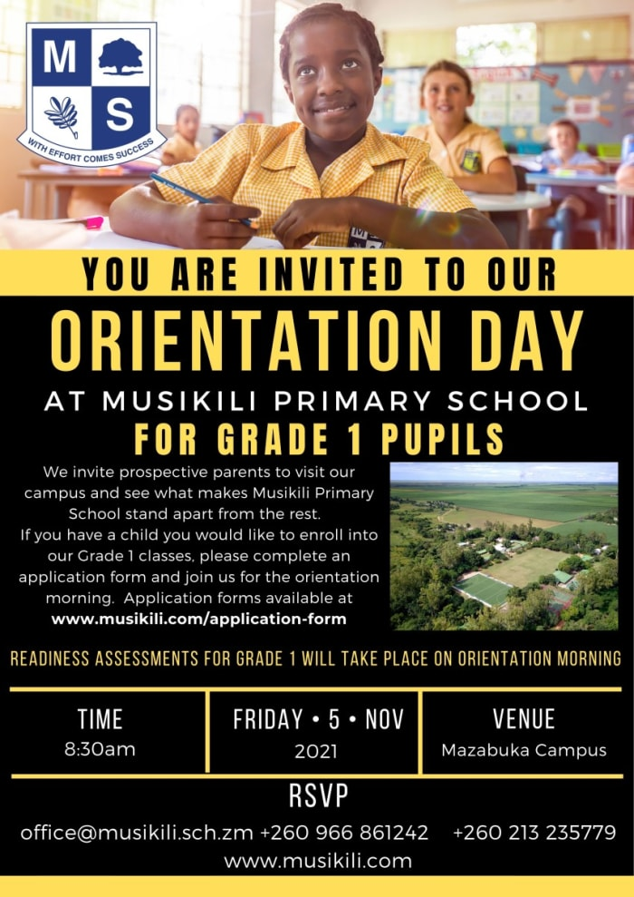 You are invited to orientation day for grade 1 pupils
