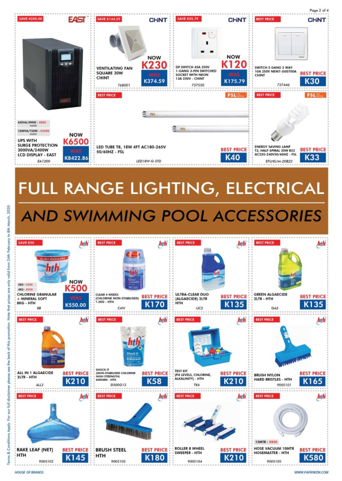 Full range of lighting, electrical and swimming pool accessories