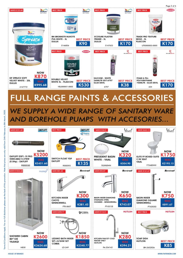 Special sale on paint and accessories