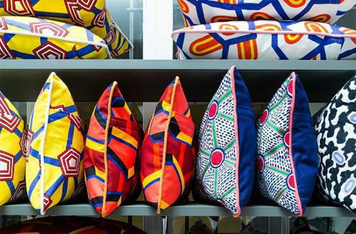 Cushions and other items in ethnic print