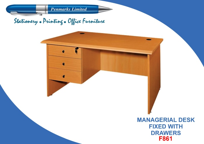 F861 Managerial desk fixed with drawers