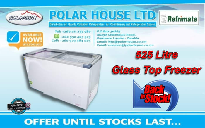 Glass top freezer - 525 litre now available