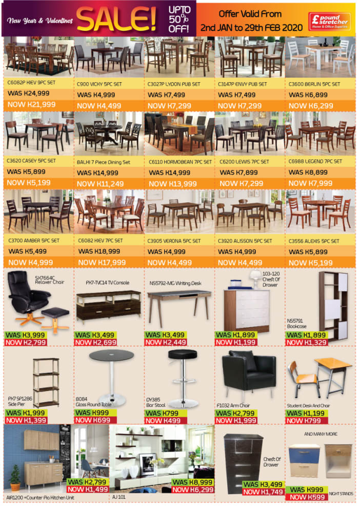 Visit Poundstretcher Zambia for discounted furniture
