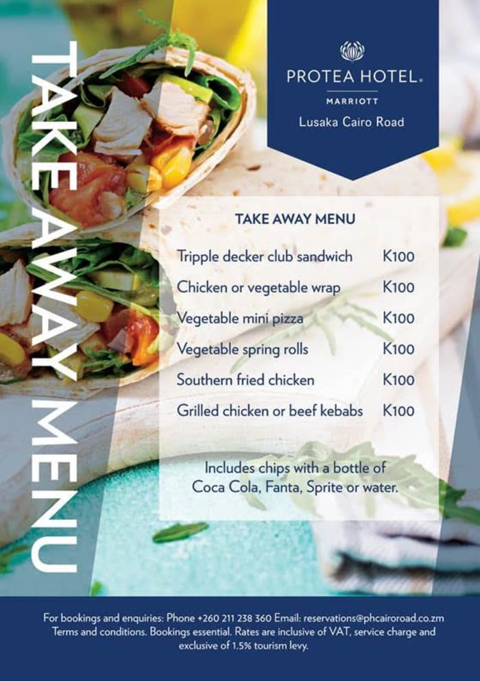 Protea Hotel by Marriott Lusaka Cairo Road Take Away Menu