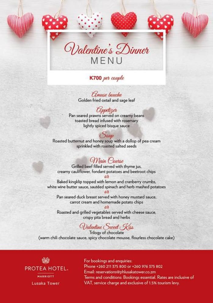 Lusaka Tower Valentine's Dinner — K700 per couple