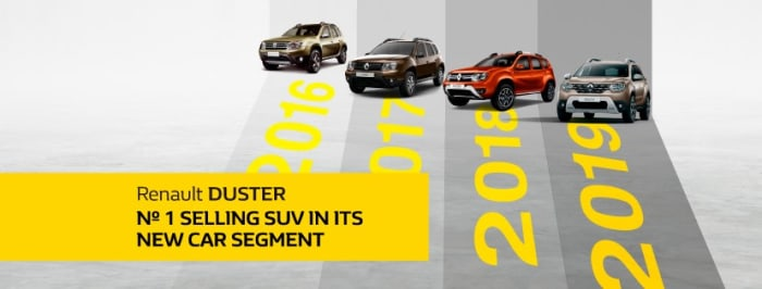 Renault Duster no. 1 selling SUV in its new car segment