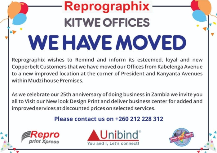 Moved to Kitwe Office