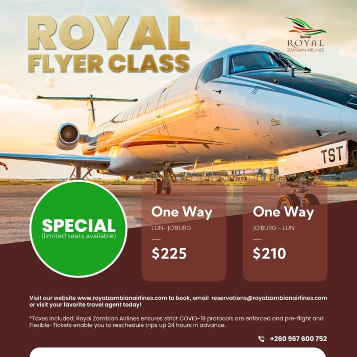 Introducing the Royal Flyer class flight special with Royal Zambian Airline