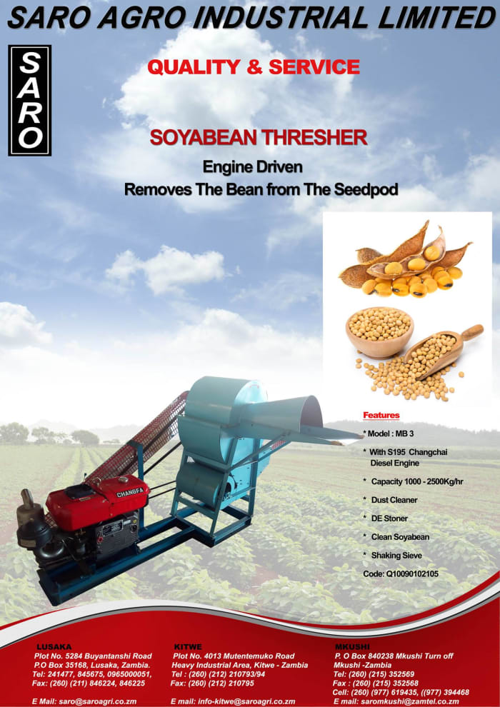 Saro soyabean thresher with engine