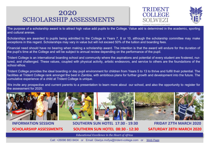 2020 Scholarship assessments in Lusaka