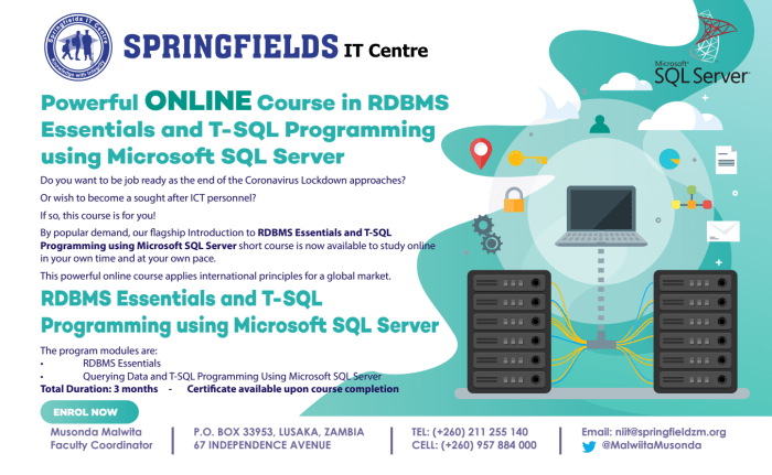 Online Course in RDBMS Essentials and T-SQL Programming using Microsoft SQL Server