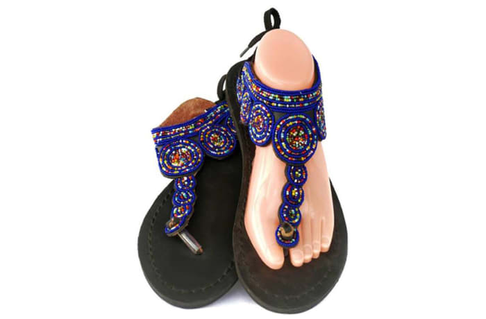 Leather and beaded sandals