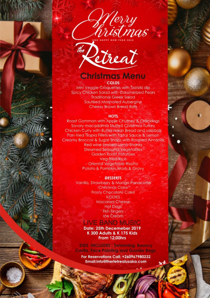 The Retreat at Roma - Christmas Menu