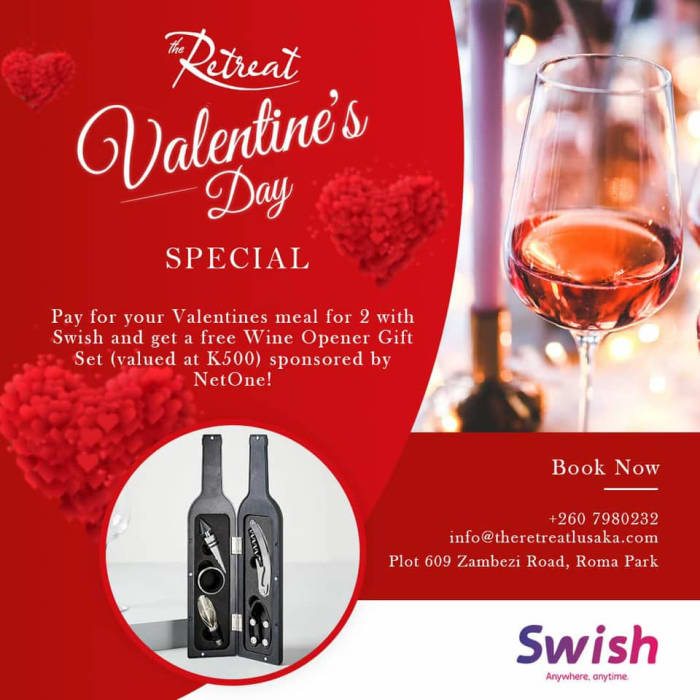 Pay for your Valentine's Meal for 2 with Swish you get a free Wine Opener Gift set