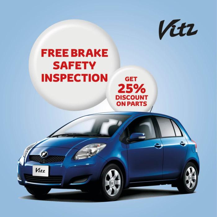 Toyota Vitz free brake safety inspection