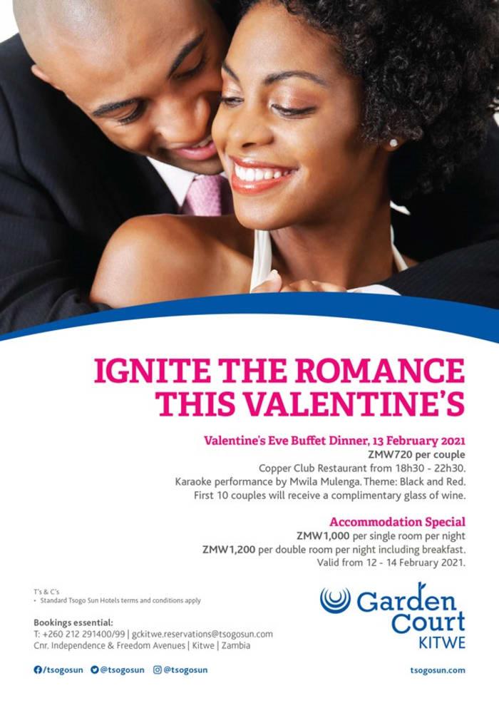 Ignite the romance this Valentine's at Garden Court Kitwe