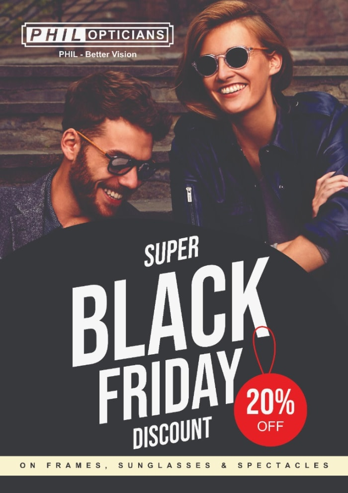 20% off frames, sunglasses and spectacles at Phil Opticians Ltd