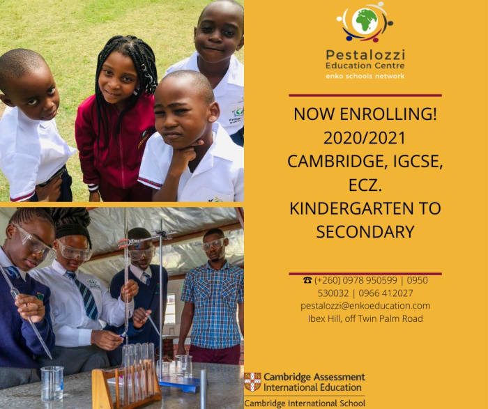 Now enrolling 2020/2021 Cambridge, IGCSE, ECZ - Kindergarten to Secondary